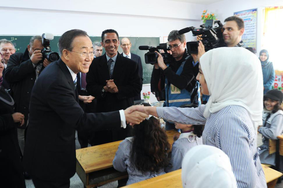 Secretary-General Ban Ki-moon meets students at an UNWRA-run school during a visit to  Khan Younis in southern Gaza in February 2012. UN Photo/Shareef Sarhan
