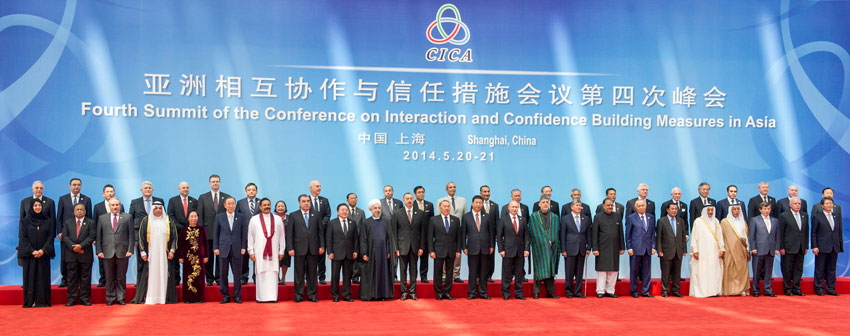 Greeting by the Chinese president at the CICA conference in Shanghai China, 21 May 2014, UN Photo/Mark Garten