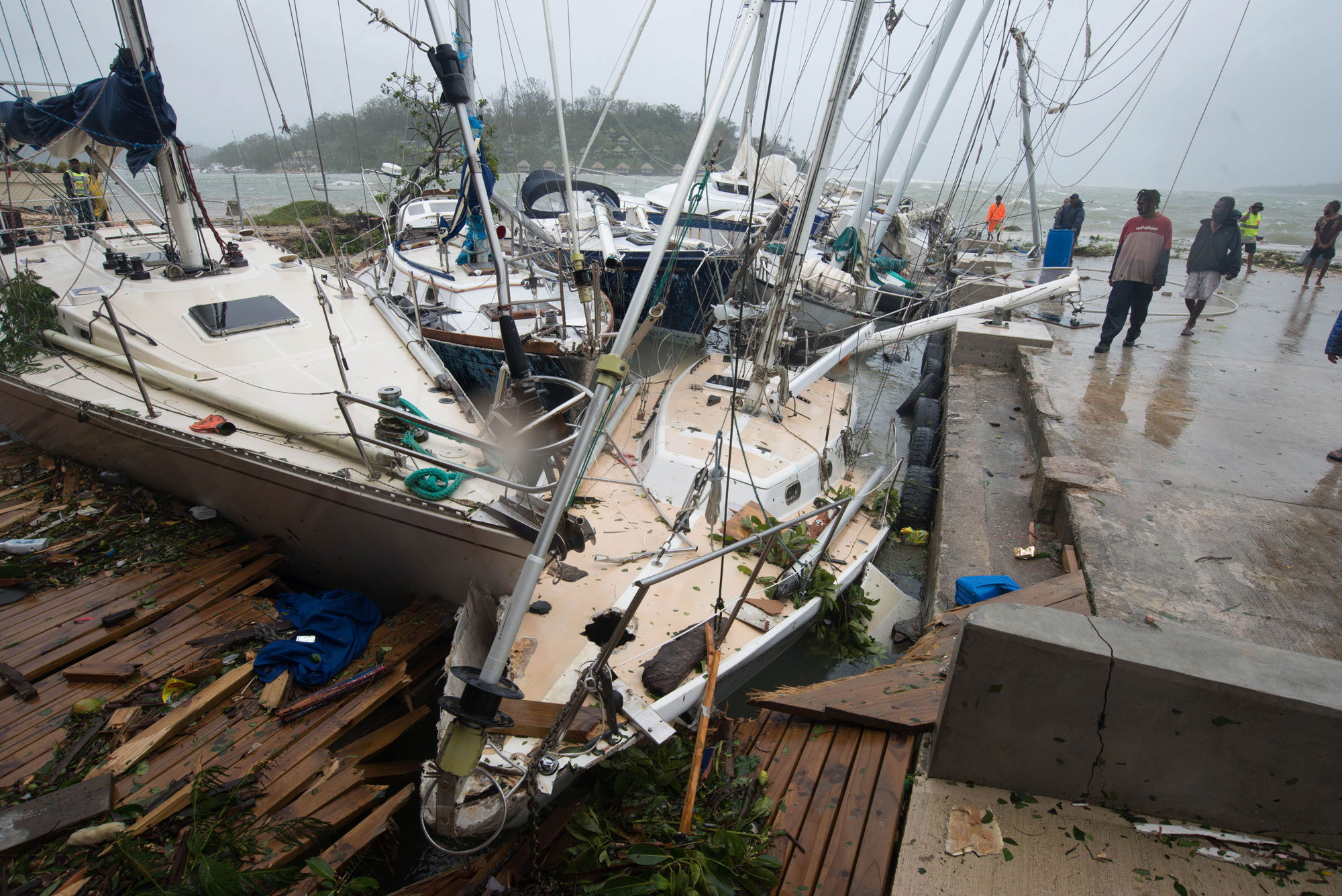 Storm damage in Vanuatu's capital, Port Vila, a day after Cyclone Pam struck the Pacific Island nation in March. UNICEF/UNI180951/Crumb