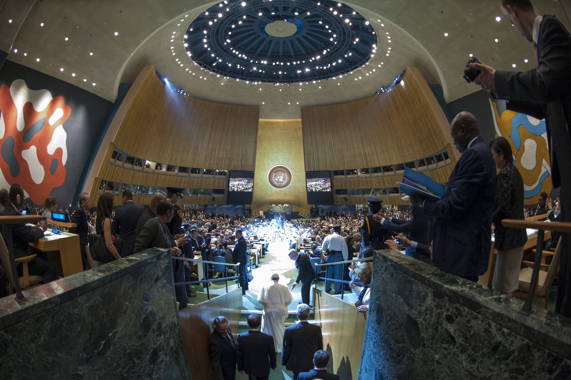 A wide view of the General Assembly Hall as Pope Francis arrives to address world leaders in September.  UN Photo/Cia Pak
