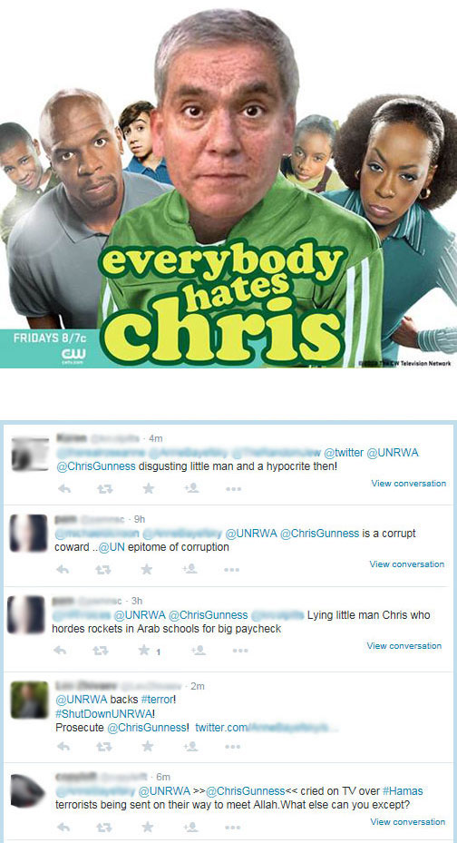 A sample of the public criticism to which Chris Gunness is regularly exposed  as part of his work with UNRWA