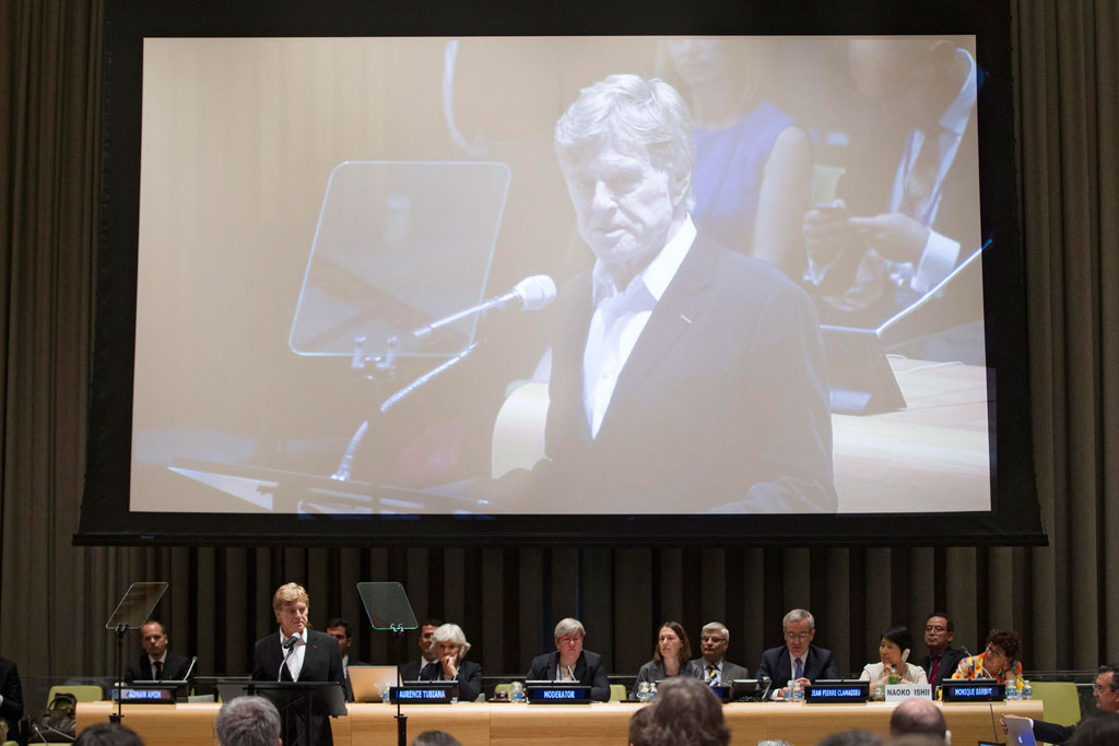 Robert Redford addresses UN Member States at the General Assembly's High-Level Climate Change meeting. UN Photo/Devra Berkowitz