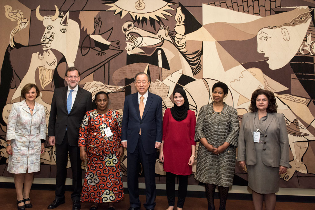Secretary-General Ban Ki-moon (centre) with some of the participants of the Security Council's meeting to commemorate the 15th anniversary of resolution 1325, held on 13 October. UN Photo/Rick Bajornas