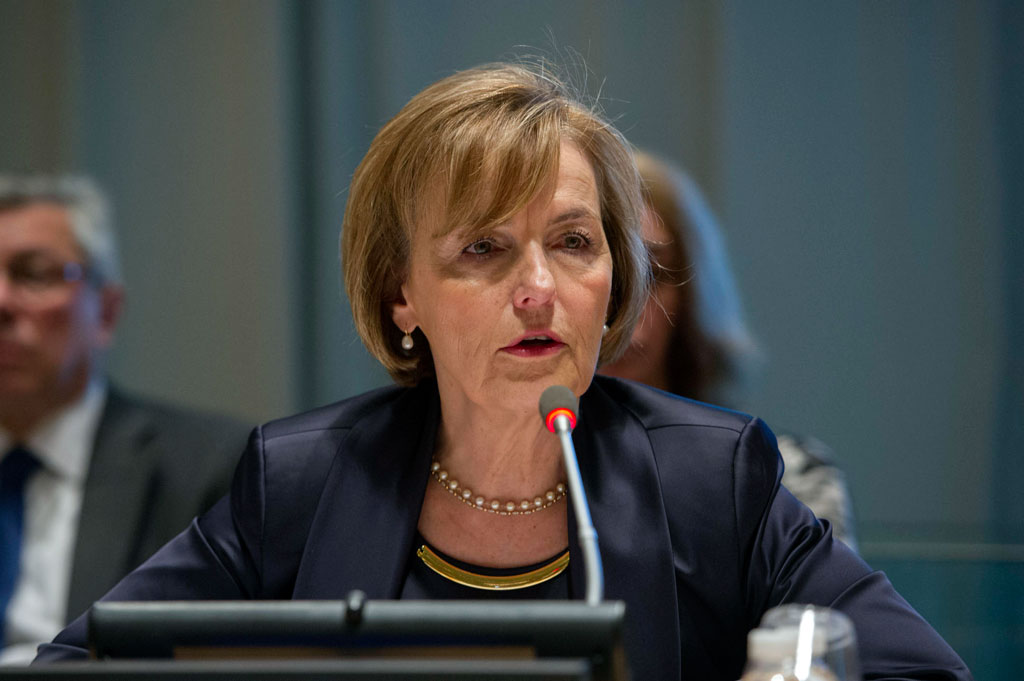 Vesna Pusi, First Deputy Prime Minister and Minister of Foreign and European Affairs of Croatia, addresses Member States regarding her candidacy for UN Secretary-General. UN Photo/Rick Bajornas
