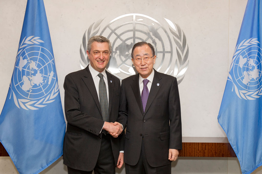 Secretary-General Ban Ki-moon (right) with Filippo Grandi, newly sworn-in UN High Commissioner for Refugees on 11 January 2016. UN Photo/Rick Bajornas