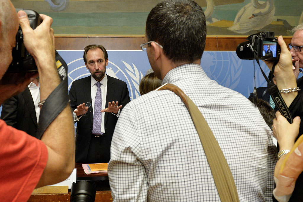 16 October 2014 - Not long after his appointment as UN High Commissioner for Human Rights, Zeid Ra'ad Al-Hussein addresses journalists in his first press conference in Geneva. UN Photo/Jean-Marc Ferré