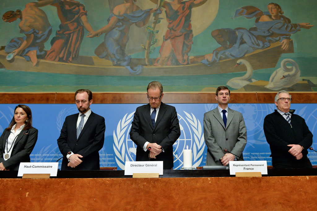 9 January 2015 – Zeid stands with other UN officials at the special ceremony to honour those killed in the 7 January terrorist attack. UN Photo/Jean-Marc Ferré