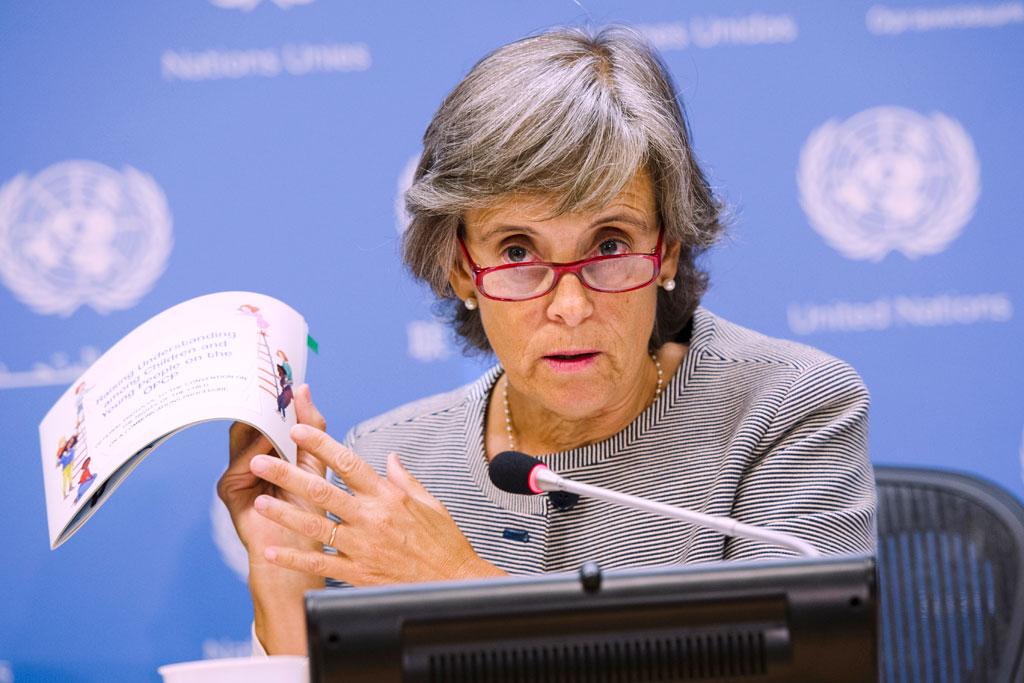 Special Representative of the Secretary-General on Violence against Children, Marta Santos Pais speaks at a press conference. UN Photo/Amanda Voisard