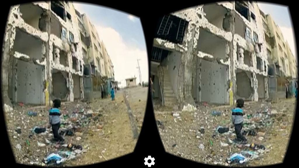 """Watching """"My Mother's Wing"""" though a virtual reality headset. Video screen capture using VRSE"""