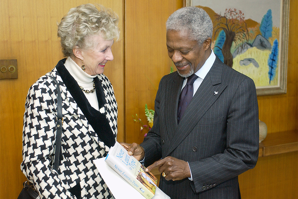 Secretary-General Kofi Annan (right) meets with Dame Margaret Anstee in April of 2003. UN Photo/Evan Schneider