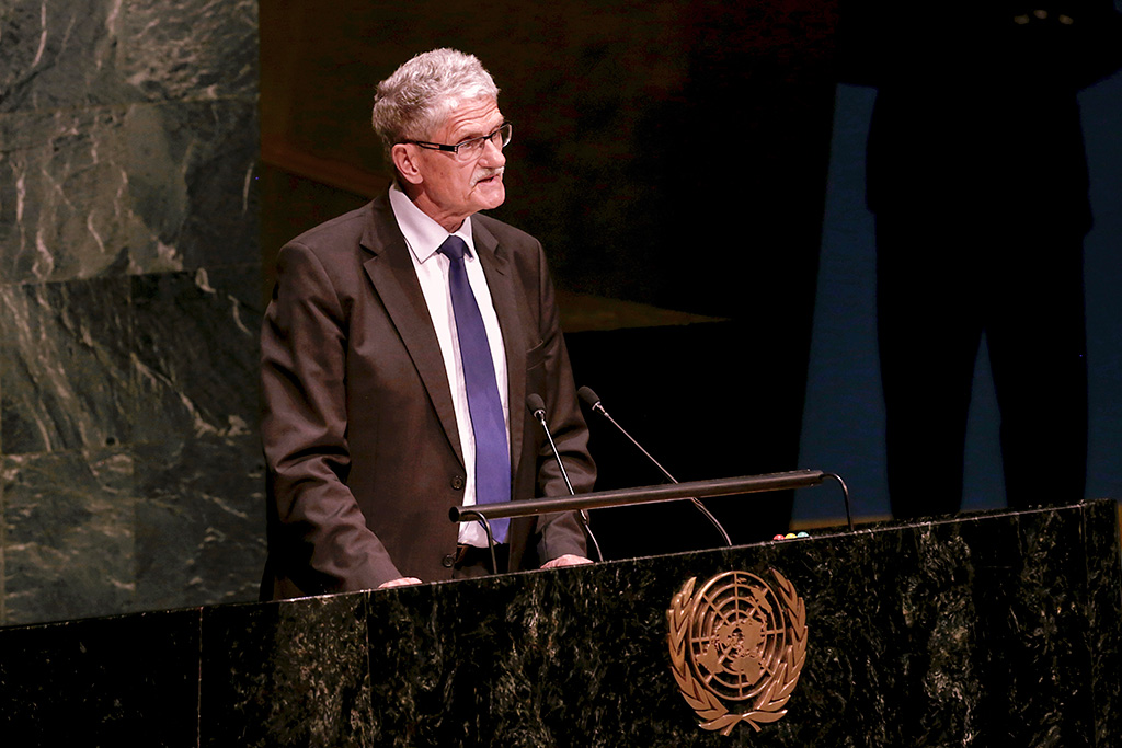 The General Assembly elected by acclamation Mogens Lykketoft, Speaker of the Parliament of Denmark, as President of its seventieth session. UN Photo/Evan Schneider