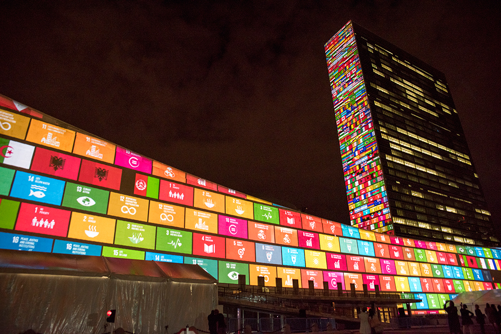 Ahead of the UN Sustainable Development Summit from 25-27 September 2015, and to mark the 70th anniversary of the United Nations, a 10-minute film introducing the Sustainable Development Goals was projected onto UN Headquarters. UN Photo/Cia Pak
