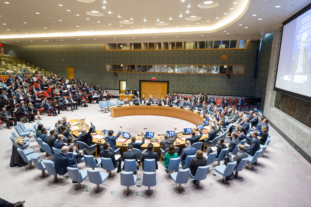 The Security Council unanimously adopts resolution 2341 (2017), calling upon Member States to consider developing or further improving their strategies for reducing risks to critical infrastructure from terrorist attacks. UN Photo/Rick Bajornas