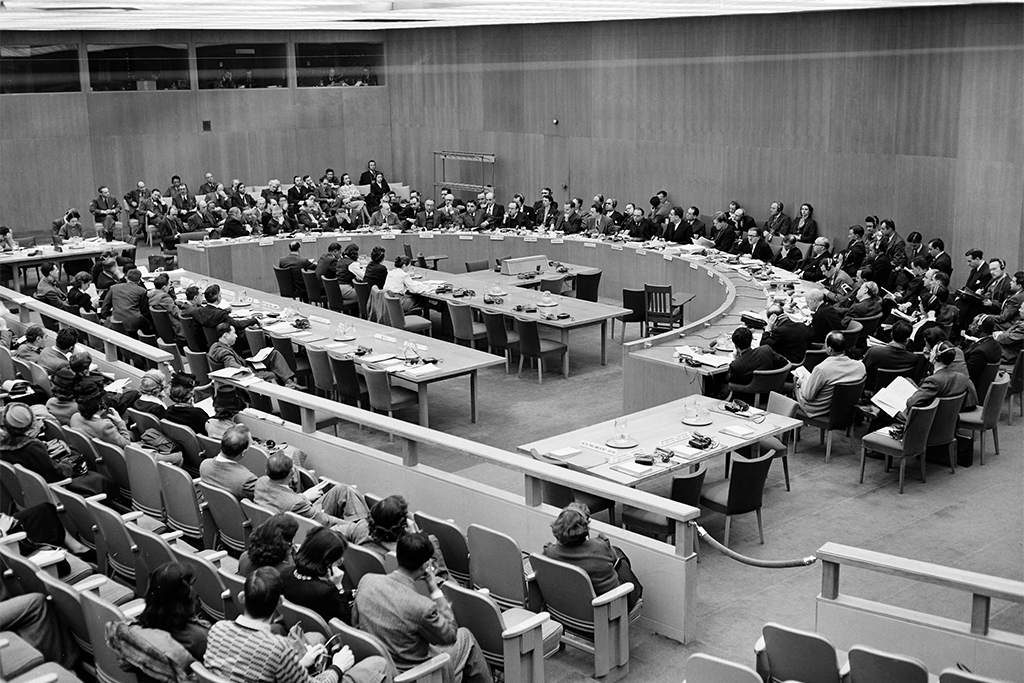 General view of opening meeting of 6th session of the Economic and Social Council of the United Nations on 2 February 1948 at Lake Success, New York. The 18-member organ of the United Nations was established by the Charter