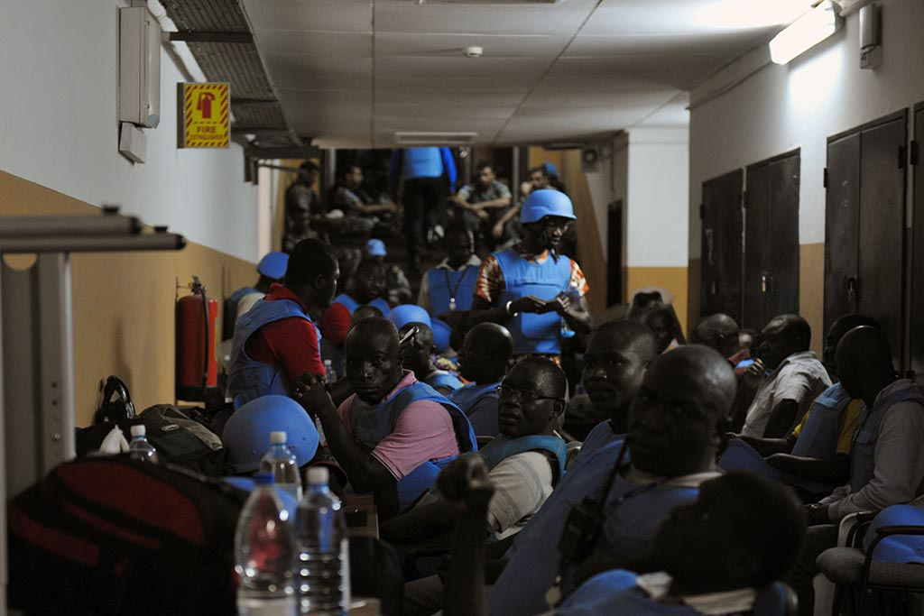 UN personnel seek refuge, in April 2011, in the basement of UNOCI Headquarters in Abidjan, after being shelled by forces loyal to former Ivorian President Laurent Gbagbo. UN Photo/Basile Zoma