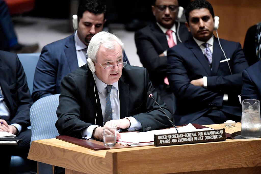 """Briefing the Security Council in May 2017, USG O'Brien said the people of Yemen are being subjected to deprivation, disease and death as the world watches. He added that this a direct consequence of actions of the parties, and is also """"a result of inaction – whether due to inability or indifference – by the international community"""". UN Photo/Evan Schneider"""
