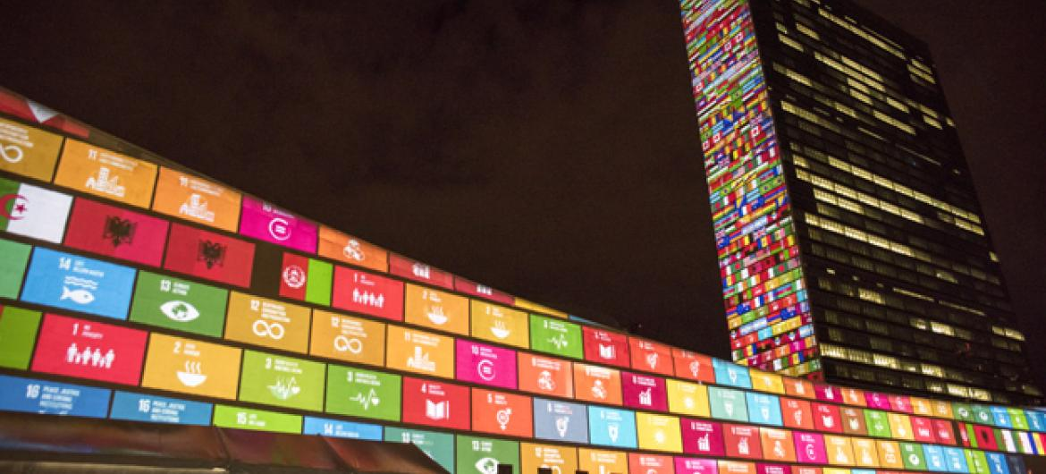 Sustainable Development Goals is projected onto UN Headquarters.