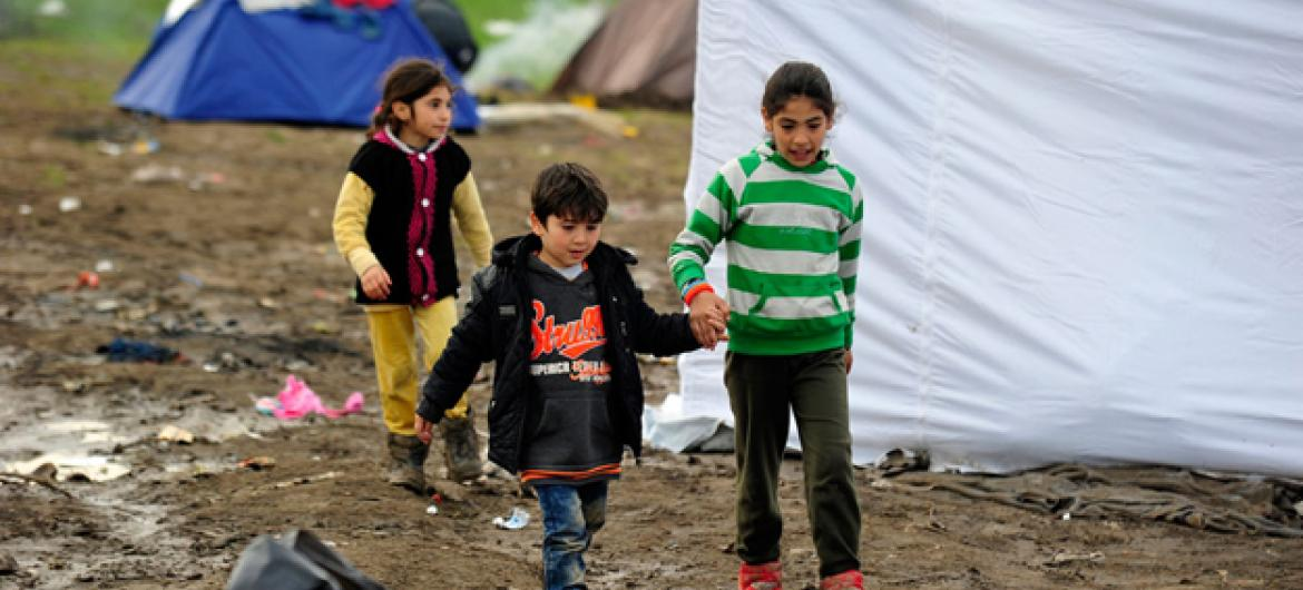 Refugee children on the border of the former Yugoslav Republic of Macedonia and Serbia.