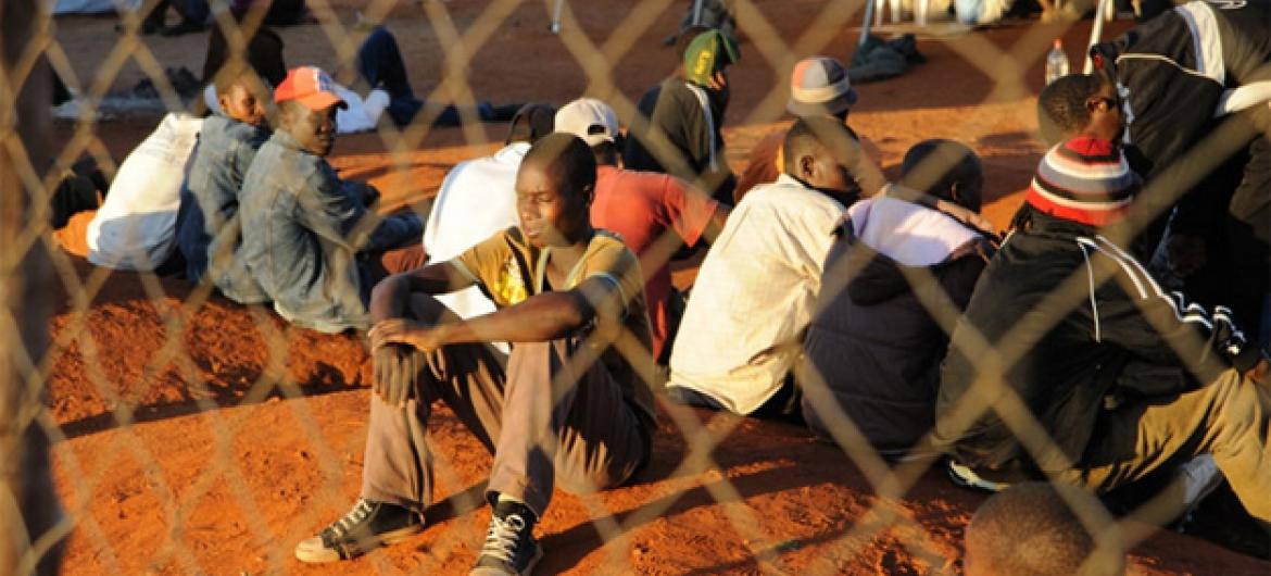 Zimbabwean migrants at a temporary shelter in South Africa.