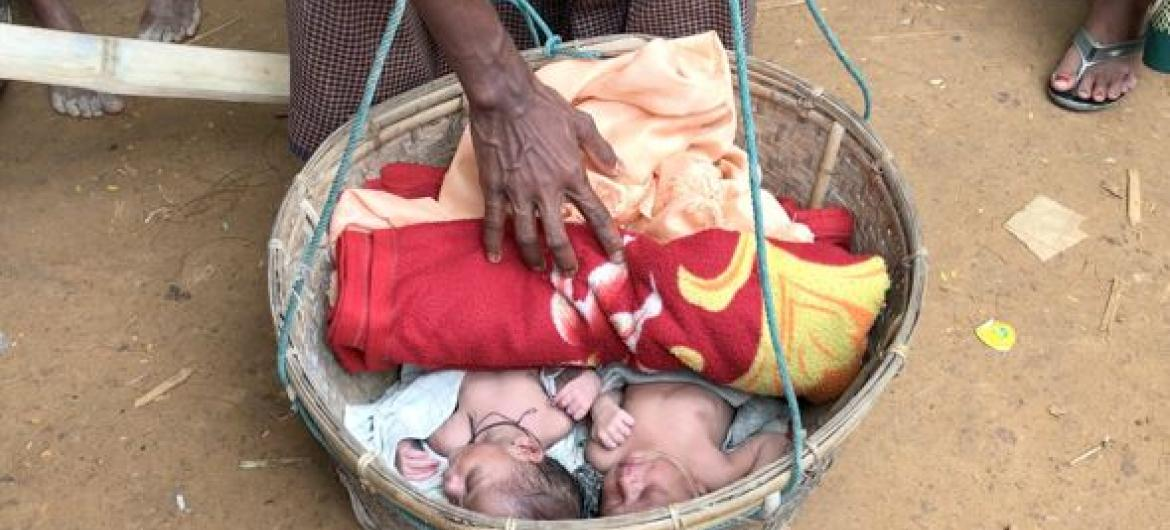 Newborn twin babies at Myanmar Refugee Camp in Bangladesh, born to their mother nine days ago after she fled her home in Myanmar.
