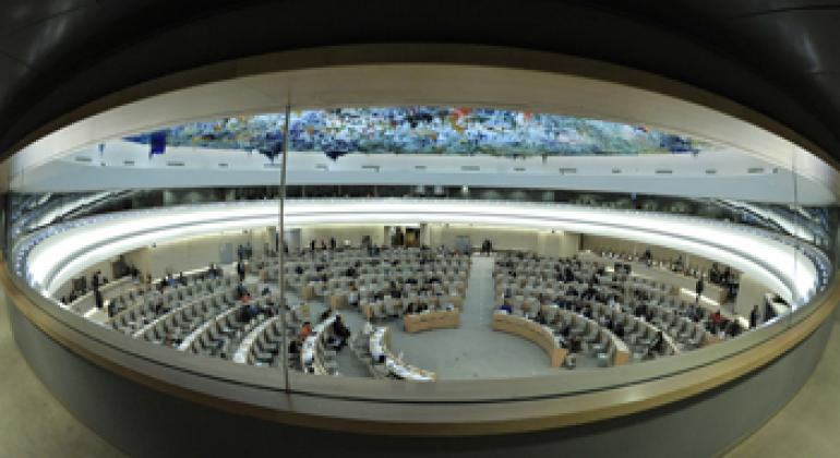 A wide view of the Human Rights Council at its eighteenth session, in Geneva, Switzerland.