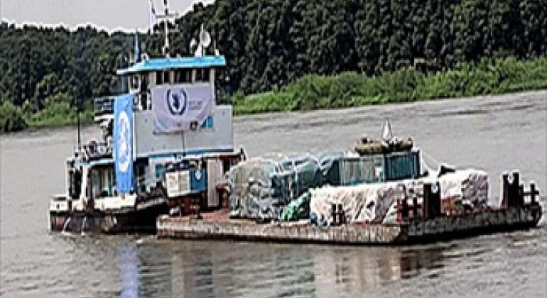 WFP barge. © WFP/George Fominyen