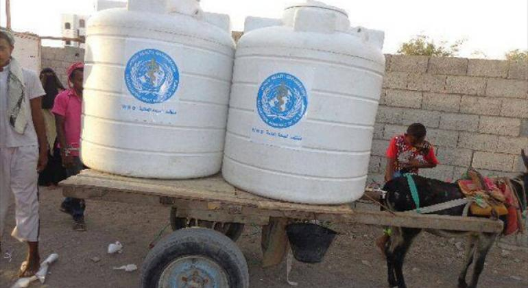 Due to fuel shortages, donkey carts are still used as an alternative transportation method to deliver safe water to health facilities and camps for internally displaced persons in Hodeida, Yemen.