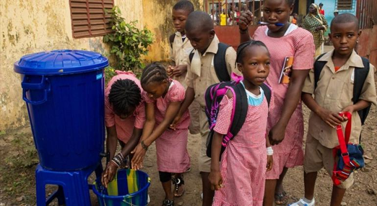 After being kept closed for three months due to the Ebola outbreak, schools across Guinea reopened in January 2015 with the help of UNICEF and other Ebola response partners. File