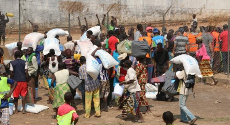 Aid distribution point in Bangui, Central African Republic (CAR).