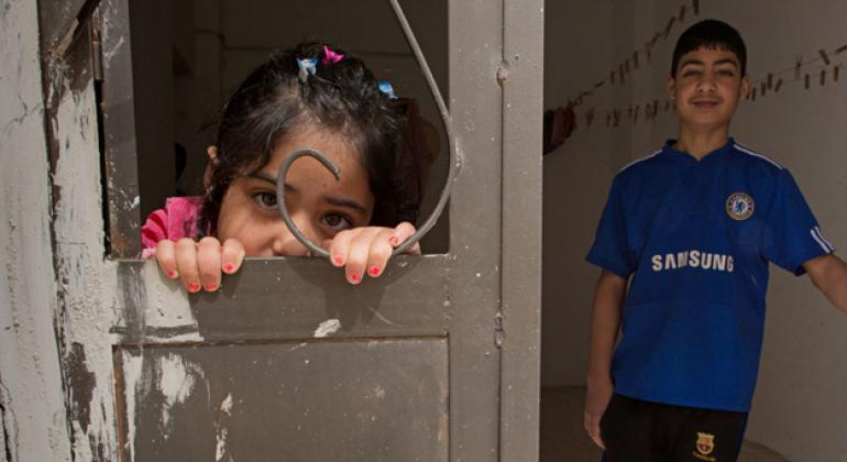 Two Syrian refugees, a brother and sister, in Jordan.