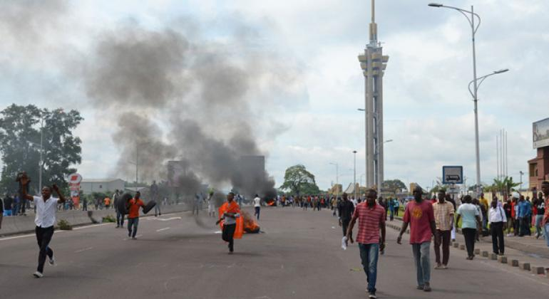 Demonstrators at the Echangeur de Limete, Kinshasa, capital of the Democratic Republic of the Congo (DRC).