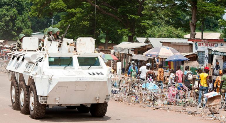 Moroccan peacekeepers serving with the UN Multidimensional Integrated Stabilization Mission in the Central African Republic (MINUSCA) .
