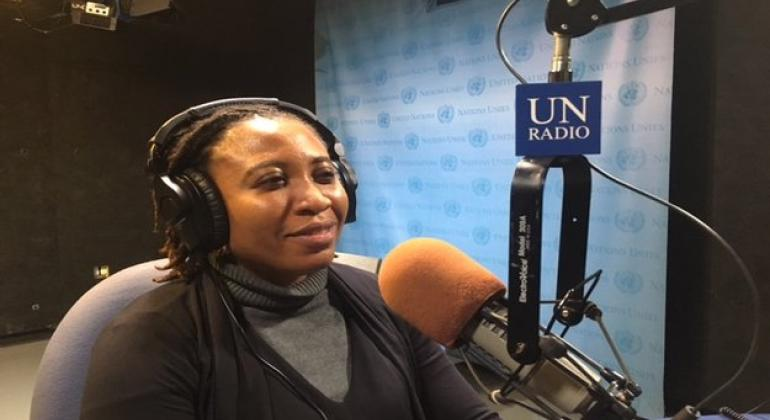 Joy Onyesoh, President of the International League for Peace and Freedom speaking the UN News English on the margins of the UN High-Level Debate on Sustaining Peace for all. UN News/J.Sambira