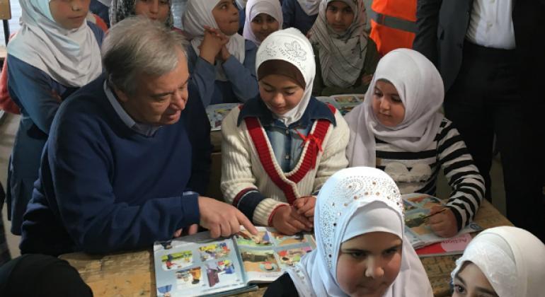 UN Secretary-General António Guterres with students at the Zaatari refugee camp in Jordan.