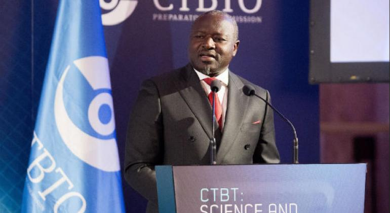 CTBTO Executive Secretary, Lassina Zerbo, speaking at the Science and Technology Conference 2017 in Hofburg Palace in Vienna, Austria. Photo/CTBTO