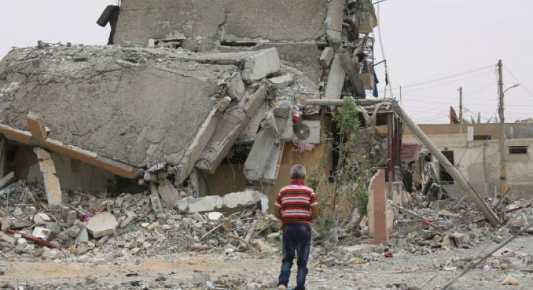 Destruction in Tabqa city, Raqqa governorate, Syria.