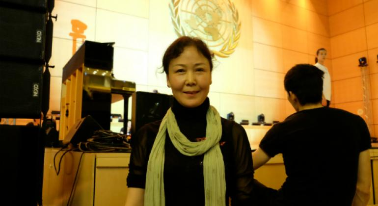 """Wang Jing, who's been with the My Dream troupe for more than 30 years. """"I am proud to have worked with them so long,"""" she said during rehearsals at the UN in Geneva."""