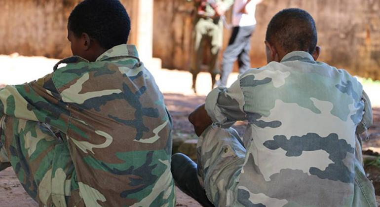 These two boys were among 357 child soldiers released by anti-Balaka militias and the ex-Séléka armed group in the Central African Republic (CAR) on 14 May 2015.