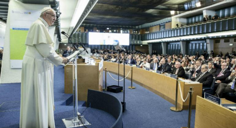 Pope Francis speaking at FAO Headquarters in Rome on World Food Day 2017.