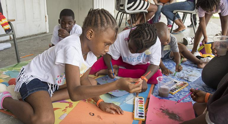Children at a shelter for hurricane evacuees in Antigua and Barbuda.