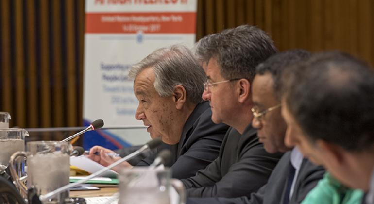 """UN Secretary-General António Guterres speaking at a high-level inaugural event on """"Supporting an Integrated, Prosperous, People-Centred and Peaceful Africa."""""""