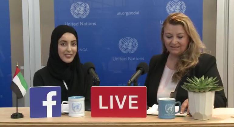 Shamma Suhail Faris Al Mazrui, United Arab Emirates Youth Minister (left), Basma Baghal (righ). Source: UN News (file)