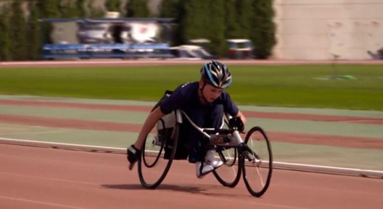 Syrian refugee Najib Alhaj training for Paralympic sports in Athens, Greece.