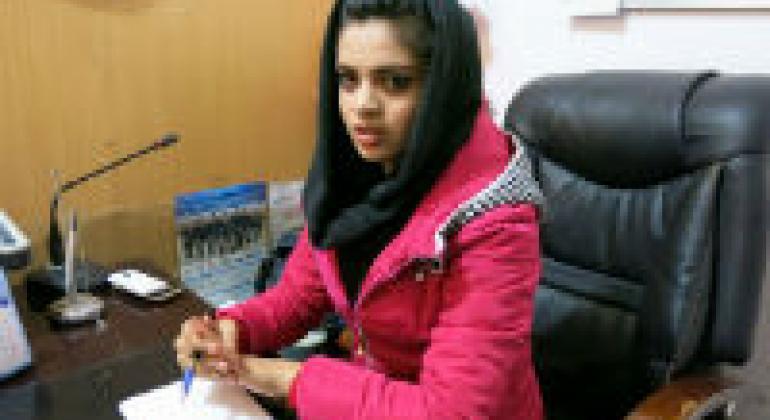 Meena Mostayed, head of Radio Sana. UNAMA/Torpekai Amarkhel