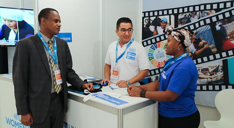 Ann Kamunya from Kenya (right) at a booth promoting UN Volunteers during the recent Global South-South Development Expo in Antalya, Turkey.