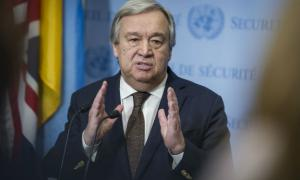 Secretary-General António Guterres addresses journalists following his return to UN headquarters after attending a Summit of the African Union in Addis Ababa, Ethiopia.