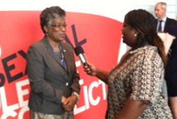 UN Radio's Jocelyne Sambira talking to Paulette Forbes-Igharo.