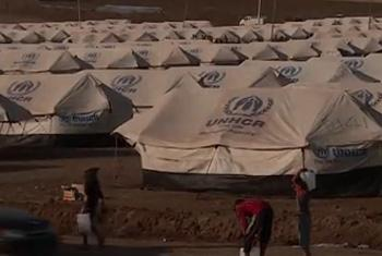 A former transit camp for Syrian refugees in northern Iraq is being reconfigured and expanded to meet the needs of a growing number of displaced people. (UNHCR video capture)