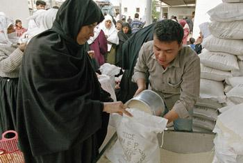 Food distribution in Rafah, Gaza by the World Food Progrmme (WFP).