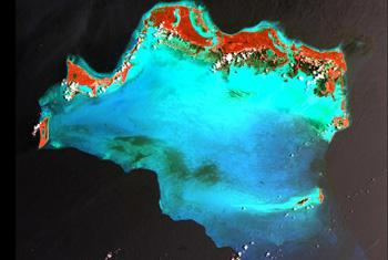 Satellite image of the Caicos Islands in the northern Caribbean from NASA.